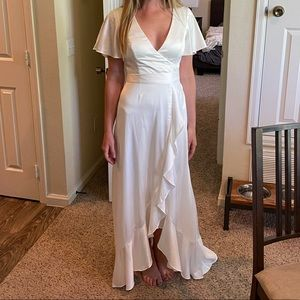 DB Flutter Sleeve Stretch Satin Dress